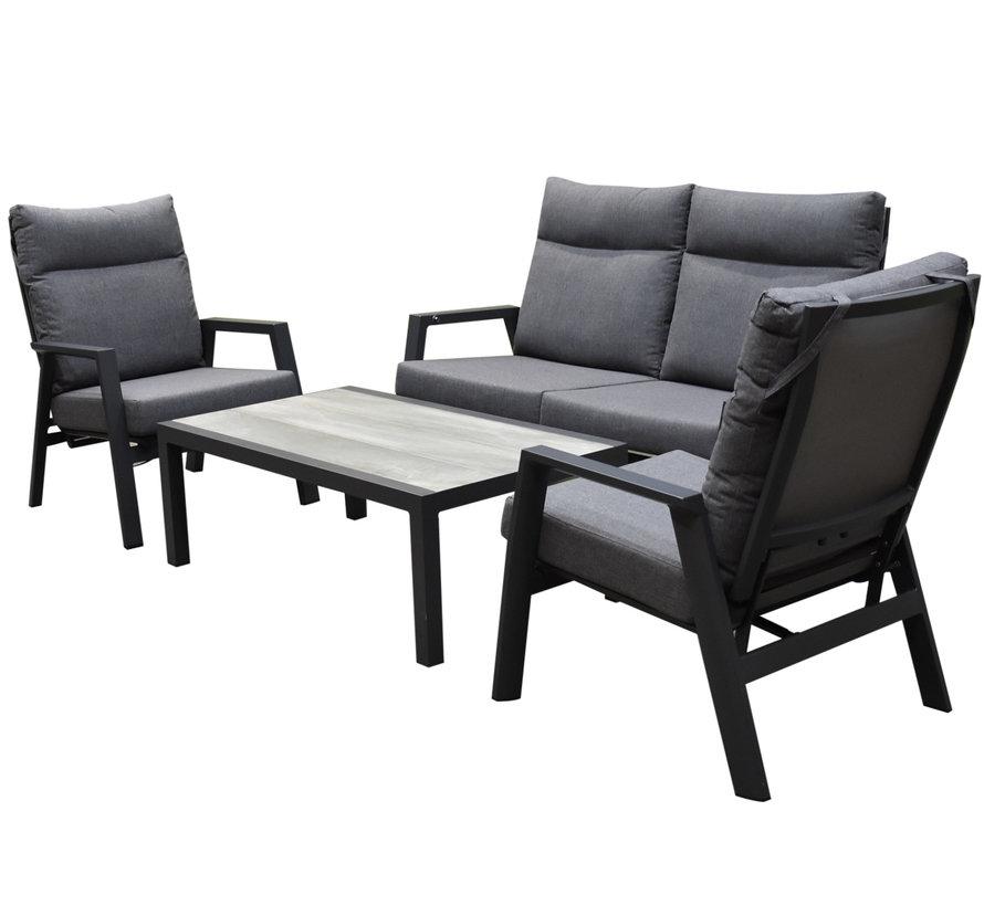 Vegas lounge tuinstoel verstelbaar aluminium antraciet