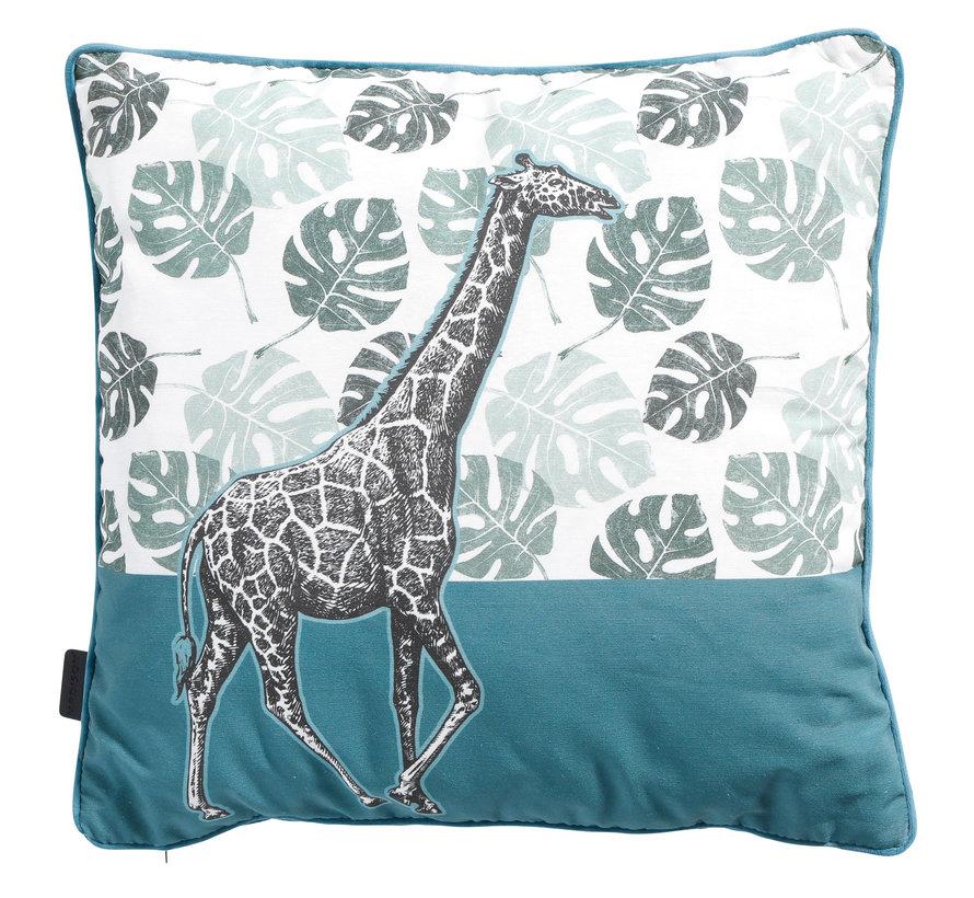 Sierkussen met paspel Giraffe Sea blue