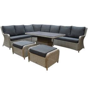 AVH-Collectie Bilbao dining hoek loungeset 7 delig grijs verstelbare tafel