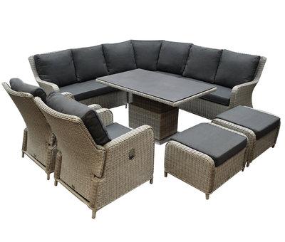 AVH-Collectie Bilbao dining hoek loungeset 8 delig grijs verstelbare tafel