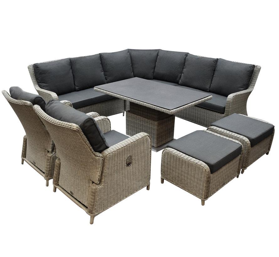 Bilbao dining hoek loungeset 8 delig grijs verstelbare tafel