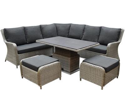 AVH-Collectie Bilbao dining hoek loungeset 6 delig grijs verstelbare tafel