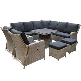AVH-Collectie Bilbao hoek dining loungeset 8 delig grijs verstelbare tafel vierkant