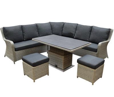 AVH-Collectie Bilbao hoek dining loungeset 6 delig grijs verstelbare tafel