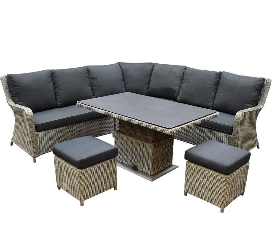 Bilbao hoek dining loungeset 6 delig grijs verstelbare tafel
