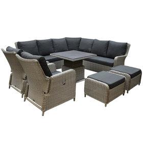 AVH-Collectie Bilbao dining hoek loungeset 8 delig grijs verstelbare tafel vierkant