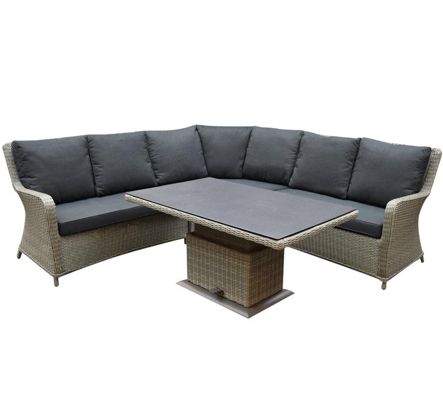 Bilbao dining hoek loungeset 5 delig grijs verstelbare tafel