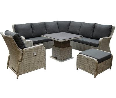 AVH-Collectie Bilbao dining hoek loungeset 6 delig grijs verstelbar tafel vierkant