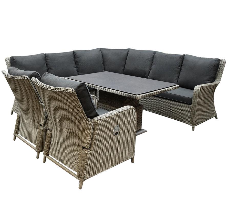 Bilbao dining hoek loungeset 6 delig grijs verstelbare tafel