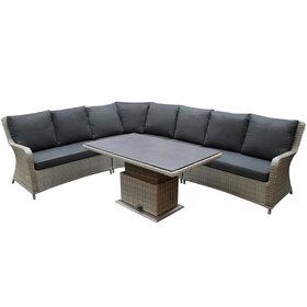 AVH-Collectie Bilbao dining hoek loungeset 5 delig grijs verstelbare tafel