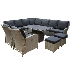 AVH-Collectie Bilbao dining hoek loungeset 9 delig grijs verstelbare tafel