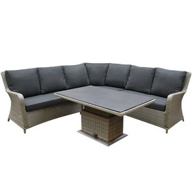 AVH-Collectie Bilbao hoek dining loungeset 4 delig grijs verstelbare tafel