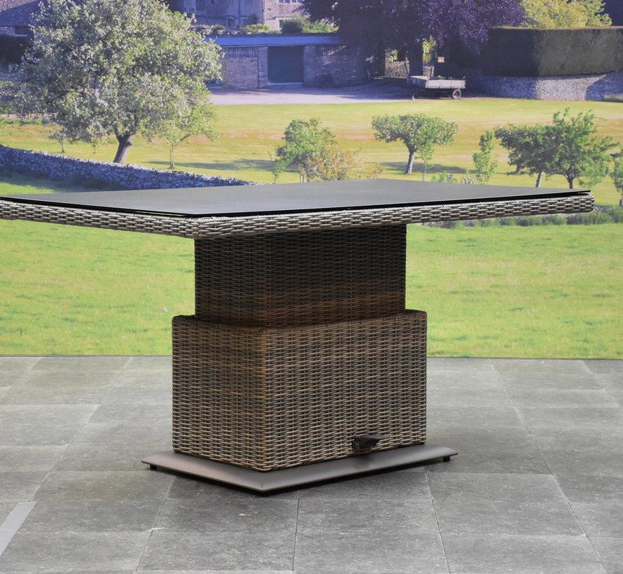 Bilbao hoek dining loungeset 4 delig grijs verstelbare tafel