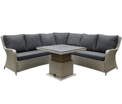 AVH-Collectie Bilbao dining hoek loungeset 4 delig grijs verstelbare tafel vierkant