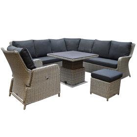 AVH-Collectie Bilbao dining hoek loungeset 6 delig grijs verstelbare tafel vierkant