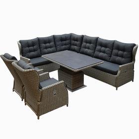 AVH-Collectie Ibiza dining verstelbare hoek loungeset 7 delig grijs met  verstelbare tafel