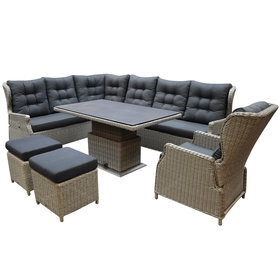 AVH-Collectie Ibiza dining verstelbare hoek loungeset 8 delig grijs met  verstelbare tafel
