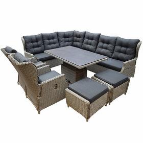 AVH-Collectie Ibiza dining verstelbare hoek loungeset 9 delig grijs met  verstelbare tafel