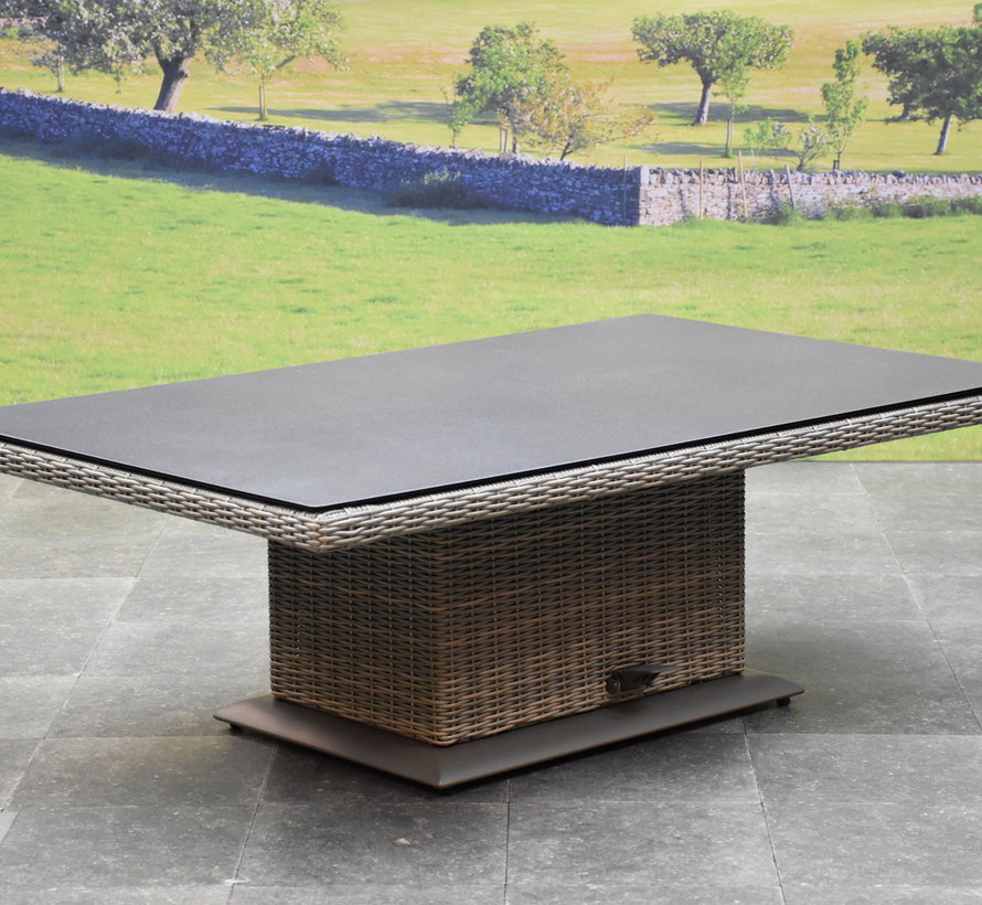 Ibiza dining verstelbare hoek loungeset 9 delig grijs met  verstelbare tafel