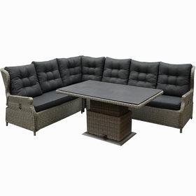 AVH-Collectie Ibiza dining verstelbare hoek loungeset 5 delig grijs met  verstelbare tafel