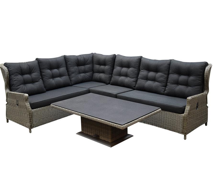 Ibiza dining verstelbare hoek loungeset 5 delig grijs met  verstelbare tafel