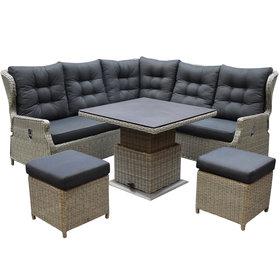 AVH-Collectie Ibiza dining verstelbare hoek loungeset 6 delig grijs met verstelbare tafel vierkant