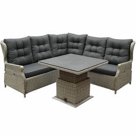 AVH-Collectie Ibiza dining verstelbare hoek loungeset 4 delig grijs met  verstelbare tafel vierkant