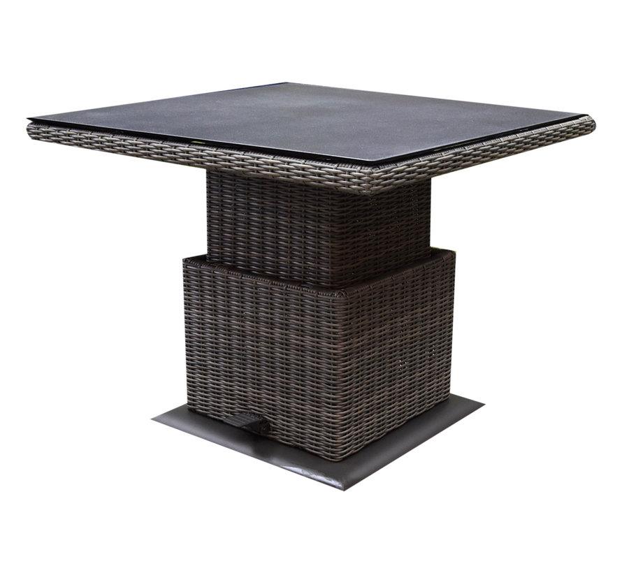 Ibiza dining verstelbare hoek loungeset 4 delig grijs met  verstelbare tafel vierkant