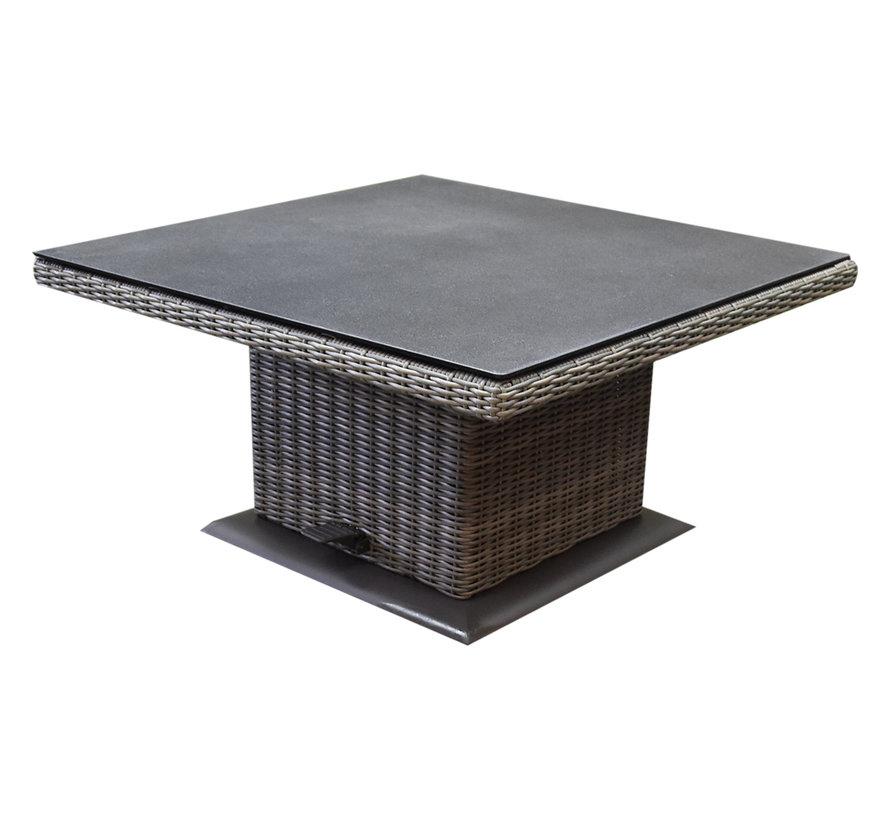 Ibiza dining verstelbare hoek loungeset 6 delig grijs met verstelbare tafel vierkant