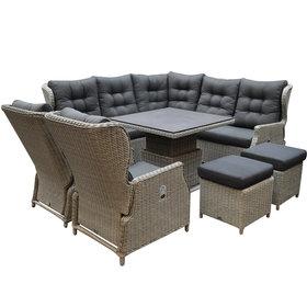 AVH-Collectie Ibiza dining verstelbare hoek loungeset 8 delig grijs met verstelbare tafel vierkant