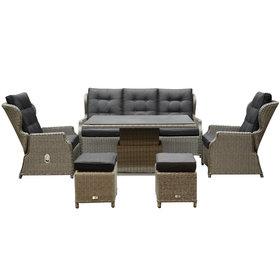 AVH-Collectie Ibiza XL stoel bank dining loungeset 6 delig grijs met verstelbare tafel