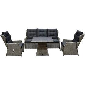 AVH-Collectie Ibiza XL stoel bank dining loungeset 4 delig grijs met verstelbare tafel vierkant