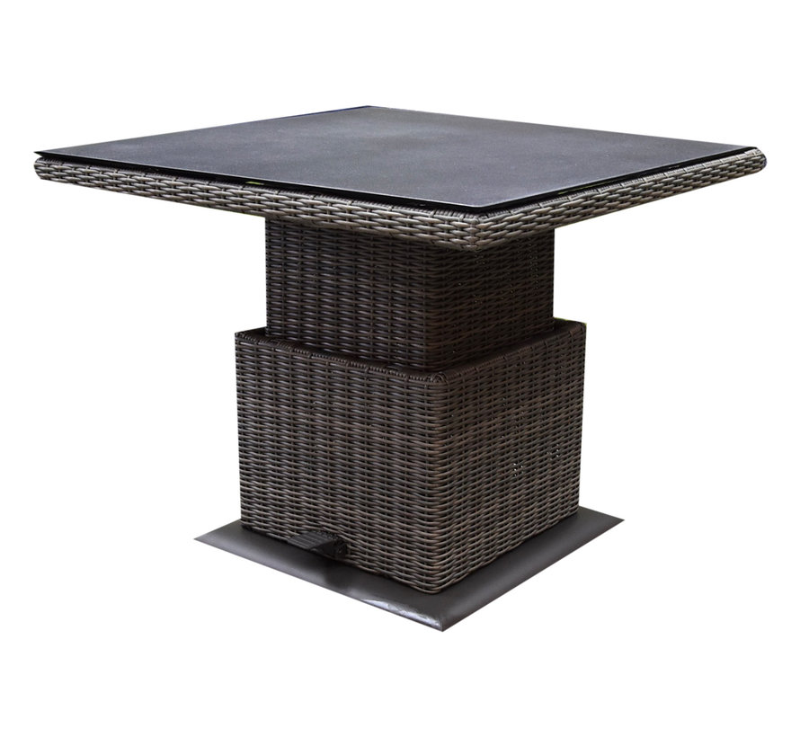 Ibiza XL stoel bank dining loungeset 4 delig grijs met verstelbare tafel vierkant