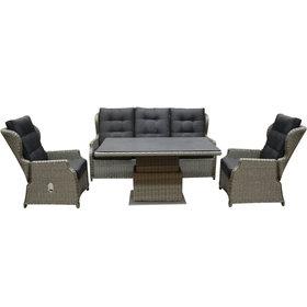 AVH-Collectie Ibiza XL stoel bank dining loungeset 4 delig grijs met verstelbare tafel
