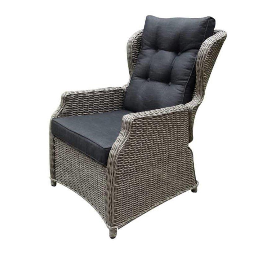 Ibiza XL stoel bank dining loungeset 4 delig grijs met verstelbare tafel