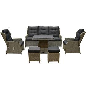 AVH-Collectie Ibiza XL stoel bank dining loungeset 6 delig grijs met verstelbare tafel vierkant