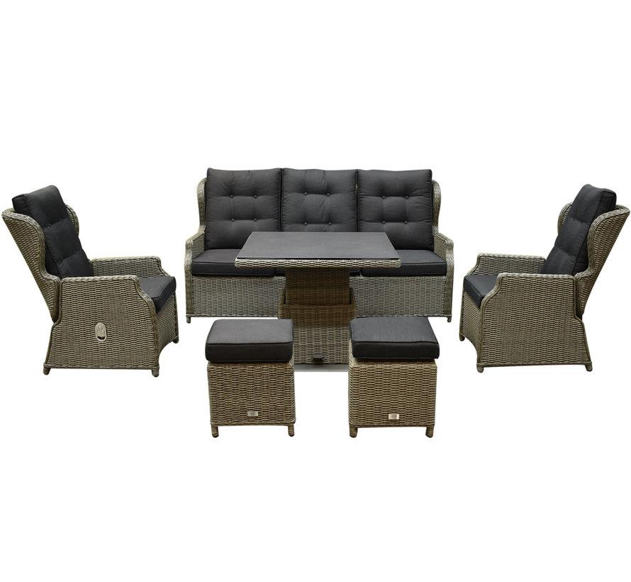 Ibiza XL stoel bank dining loungeset 6 delig grijs met verstelbare tafel vierkant