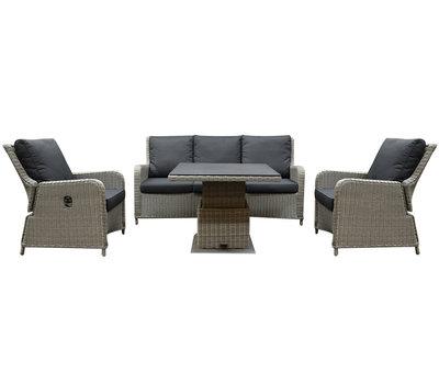 AVH-Collectie Bilbao stoel bank dining loungeset 4 delig grijs met verstelbare tafel vierkant