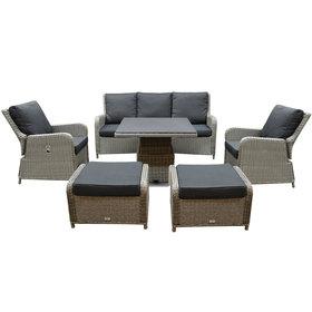 AVH-Collectie Bilbao stoel bank dining loungeset 6 delig grijs met verstelbare tafel vierkant