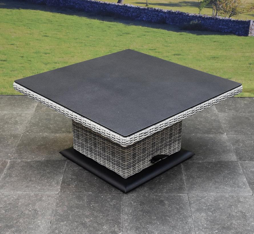 Bilbao dining hoek loungeset 6 delig wit met verstelbare tafel vierkant