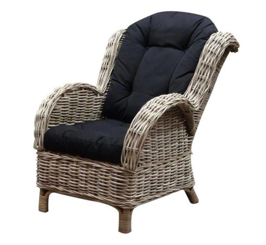 Naturel relax lounge tuinstoel - olefin black