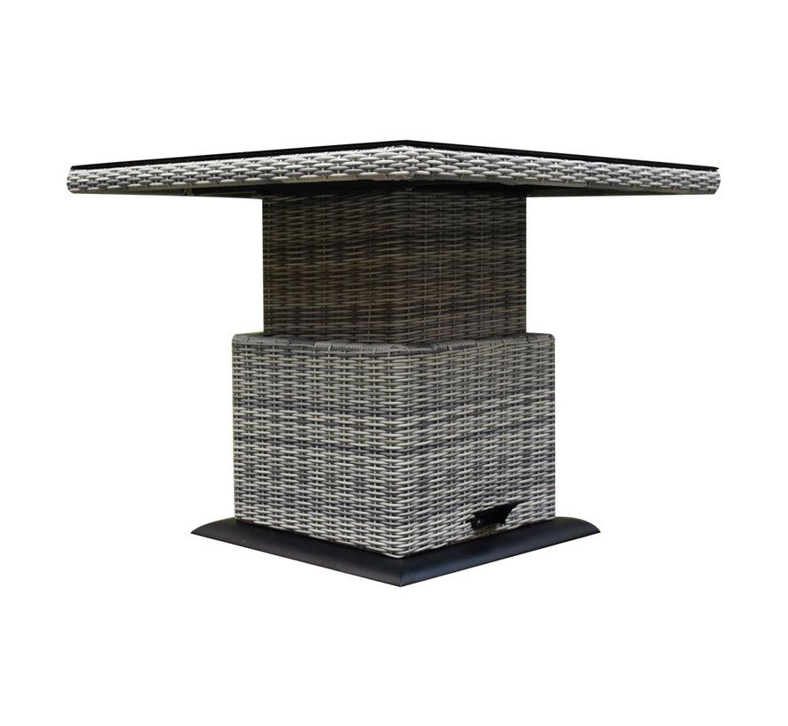 Miami lounge-diningtafel 90x90xH45-65 cm in hoogte verstelbaar wit grijs