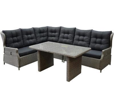 AVH-Collectie Ibiza hoek dining loungeset 5-delig verstelbaar grijs