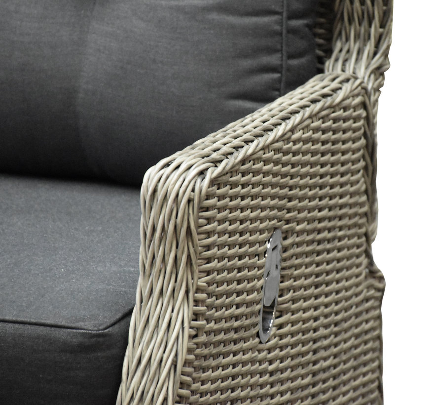 Ibiza hoek dining loungeset 5-delig verstelbaar grijs