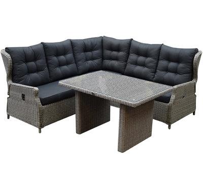 AVH-Collectie Ibiza hoek dining loungeset 4-delig verstelbaar grijs 120 cm tafel