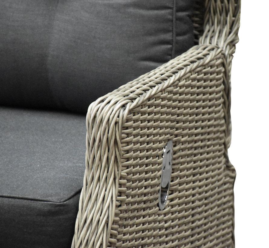 Ibiza hoek dining loungeset 4-delig verstelbaar grijs 120 cm tafel