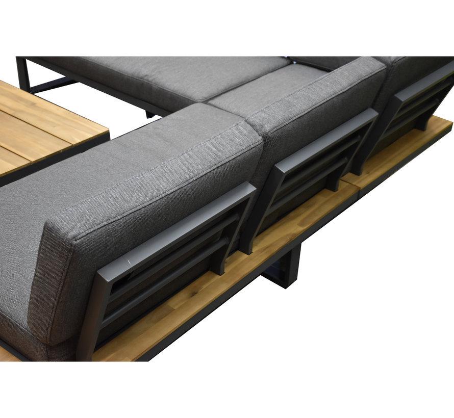 Dilos platform hoek loungeset 3 delig antraciet aluminium