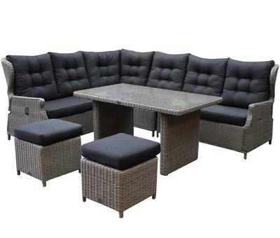AVH-Collectie Ibiza hoek dining loungeset 7-delig verstelbaar grijs