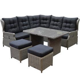 AVH-Collectie Ibiza hoek dining loungeset 6-delig verstelbaar grijs