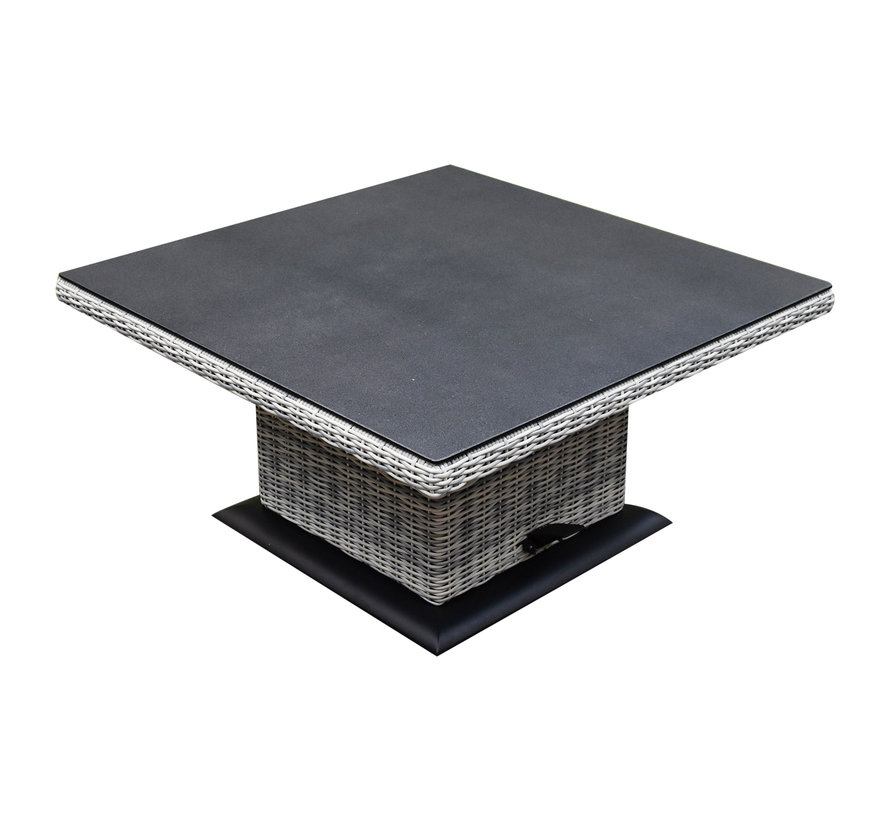 Bilbao dining hoek loungeset 5 delig wit verstelbare tafel vierkant